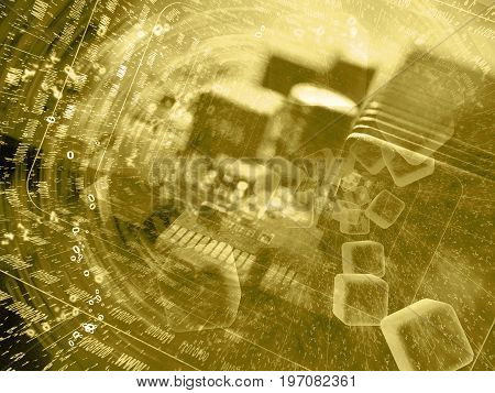 Business background in sepia with electronic device and digits.