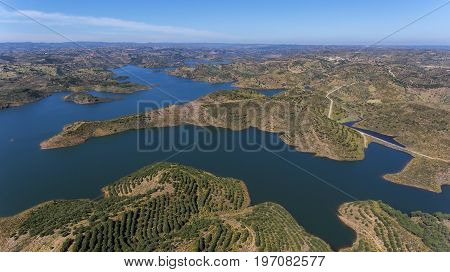Barrage of Odeleite, Algarve Portugal. Flying a drone over the lake.