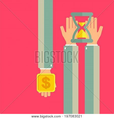 Businessman hold hourglass in his hands another businessman buying time. Time is money concept. Vector illustration.