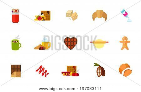 Sweet snack icon set. Granola bar Belgium waffle Brown sugar Croissant Cream can Hot chocolate Coffee Chocolate heart Dough Gingerbread Chocolate bar Caramel sauce Cherry syrup Cocoa Croissant and bun