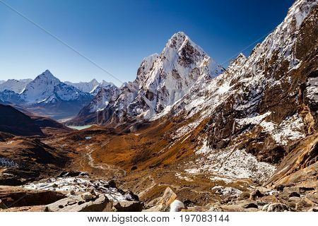 Himalaya Beautiful Mountain Peaks from Cho La Pass Inspirational Autumn Himalayas Landscape in Everest National Park Travel Nepal.