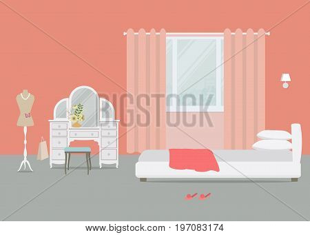 Bedroom in an orange color. There is a dressing table, a chair, a bed with pillows, a dummy and other objects on a window background in the picture. Vector flat illustration