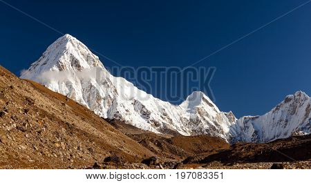 Pumo Ri Himalaya Beautiful Mountain Peak Inspirational Autumn Himalayas Landscape in Everest National Park Nepal.