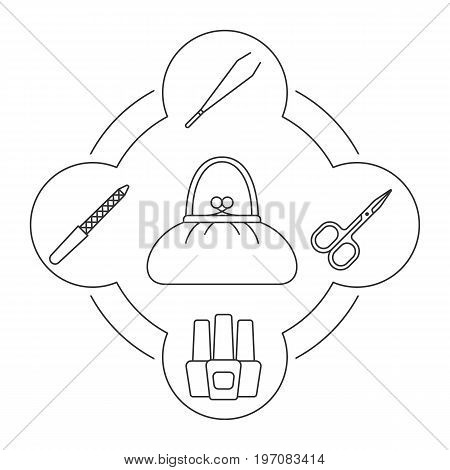 Woman's purse contents linear icons set. Manicure equipment. Scissors, tweezers, nail file, nail polish bottles. Isolated vector illustrations