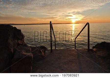 Panoramic view of Piran bay at sunset in Adriatic sea, Slovenia