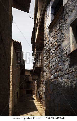 Narrow street in Valderrobres village. Teruel province