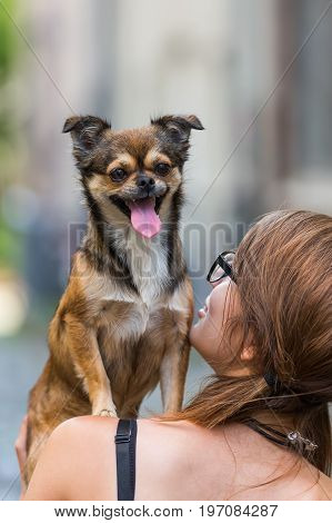 Young Woman Has A Small Dog On The Shoulder