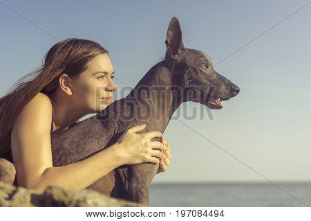 Cheerful pretty young girl sitting and hugging her dog xoloitzcuintli at the blue sky and sea on a stone beach