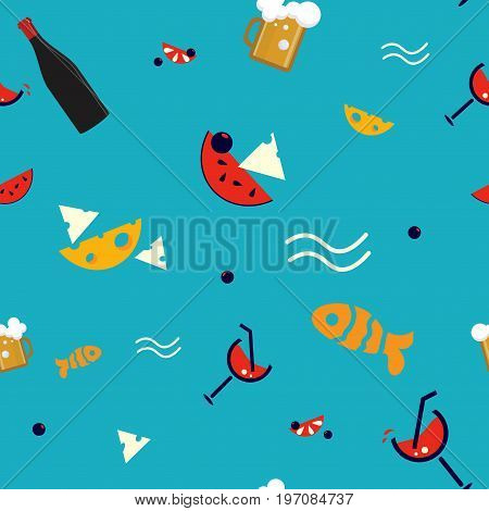 Summertime Beach Bar Seamless Pattern illustration with summer cocktails and cold beer mugs. Great also as beach pub pattern.