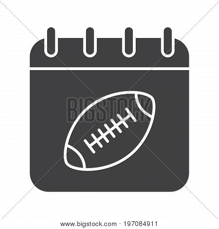 Super Bowl date glyph icon. Silhouette symbol. Calendar page with american football ball. Negative space. Vector isolated illustration
