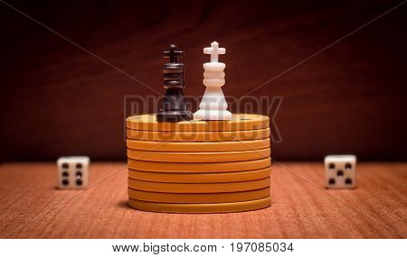 Two chess king and objects for table games dice chips for playing poker