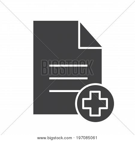 Patient card glyph icon. Silhouette symbol. Text file with star of life. Medical insurance. Negative space. Vector isolated illustration