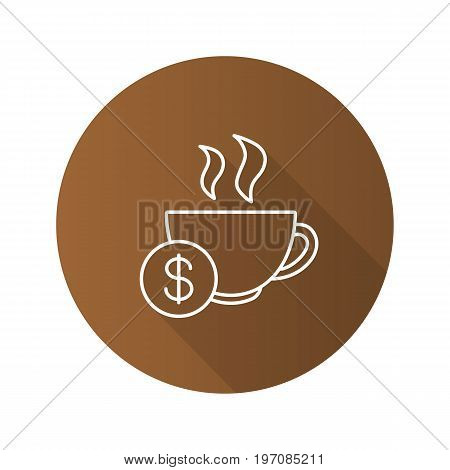 Buy cup of tea flat linear long shadow icon. Hot steaming mug with dollar sign. Vector outline symbol