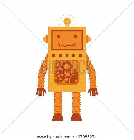 Vector illustration. Mechanical smiling cartoon yellow orange robot with gears. Colorful icon in the flat style.