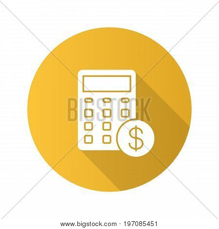 Calculations flat design long shadow glyph icon. Calculator with dollar sign. Financial planning. Vector silhouette illustration