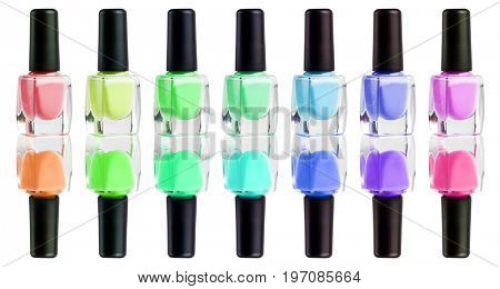 Collection of nail polish. colors of rainbow. Isolated on white background