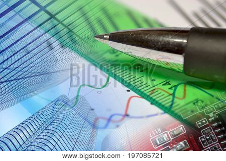 Business background with graph buildings and pen.