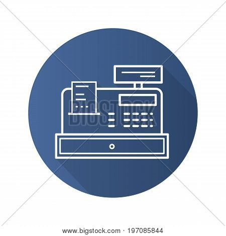 Cash register flat linear long shadow icon. Vector outline symbol