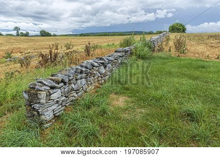 The landscape in the countryside of the historic Antietam battlefield in Maryland.
