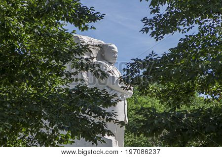 The statue of MLK seen through the trees at the national mall in Washington DC.