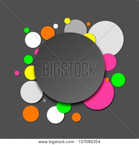 Colorful paper circles in neon and grey shades, abstract vector background with 3D effect.