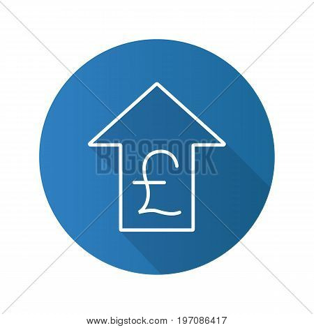 Pound rate rising flat linear long shadow icon. Great Britain pound with up arrow. Vector outline symbol
