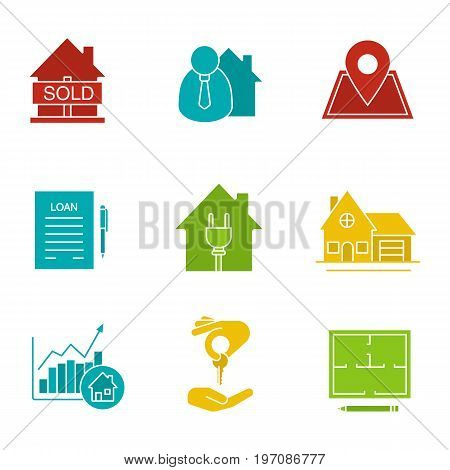 Real estate market glyph color icon set. Sold house, broker, loan, agreement, cottage, floor plan, house for sale, chart. Silhouette symbols on white backgrounds. Negative space. Vector illustrations