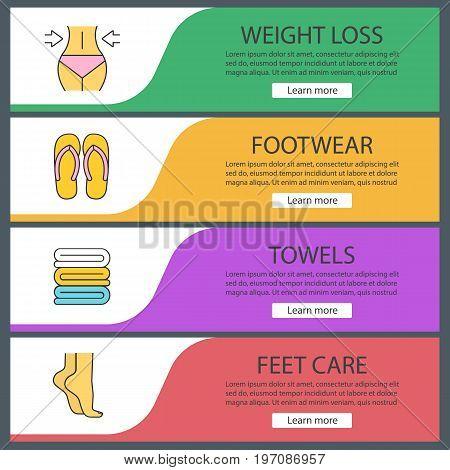 Spa salon web banner templates set. Woman's waist and feet, towels, flip flops. Website color menu items. Vector headers design concepts