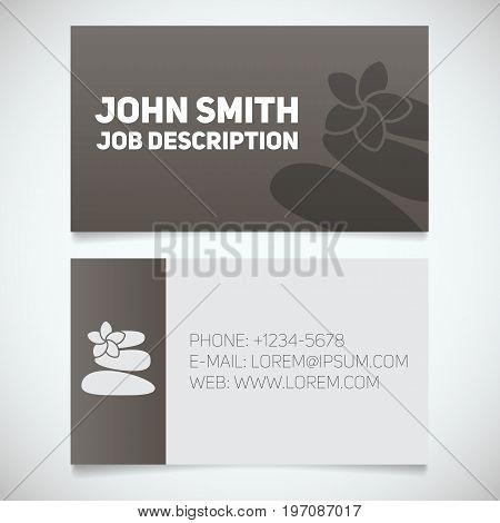 Business card print template with stones for massage logo. Manager. Massagist. Masseur. Stationery design concept. Vector illustration