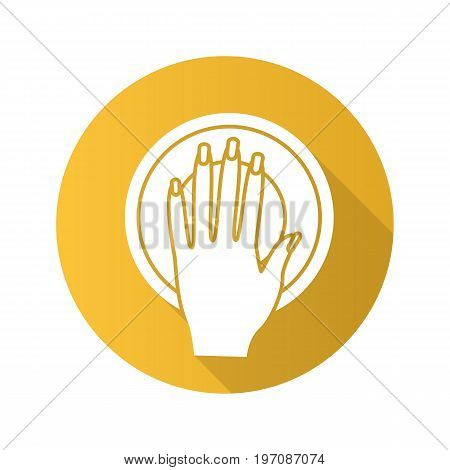 Manicure bowl flat design long shadow glyph icon. Woman's manicured hand with bowl. Vector silhouette illustration