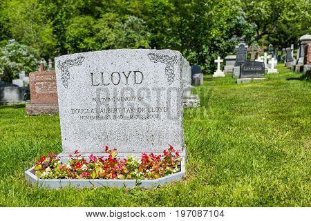 Montreal Canada - May 28 2017: Cemetery on Mont Royal with grave tombstone of Lloyd sign and flowers during bright sunny day in Quebec region city