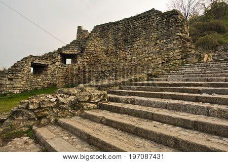Stairs and fortress wall ruins at Kalemegdan fortress in Belgrade, Serbia