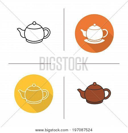 Teapot icon. Flat design, linear and color styles. Isolated vector illustrations