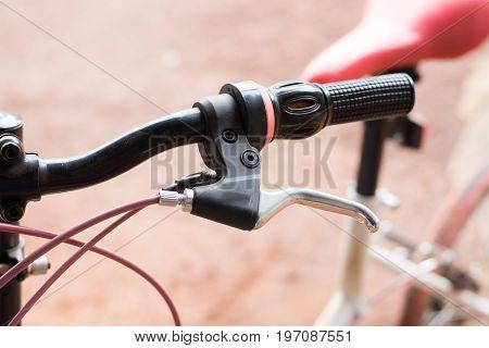 bicycle handlebars, Close Up Of Bicycle handlebars.