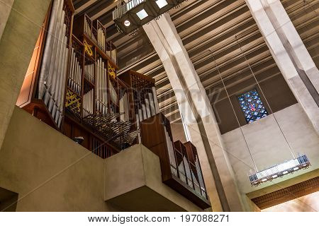Montreal, Canada - May 28, 2017: Inside St Joseph's Oratory On Mont Royal Tall Walls And Organ In Qu
