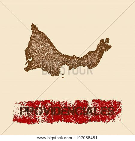Providenciales Distressed Map. Grunge Patriotic Poster With Textured Island Ink Stamp And Roller Pai