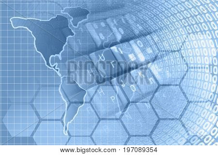 Map and digits - abstract computer background in blues.