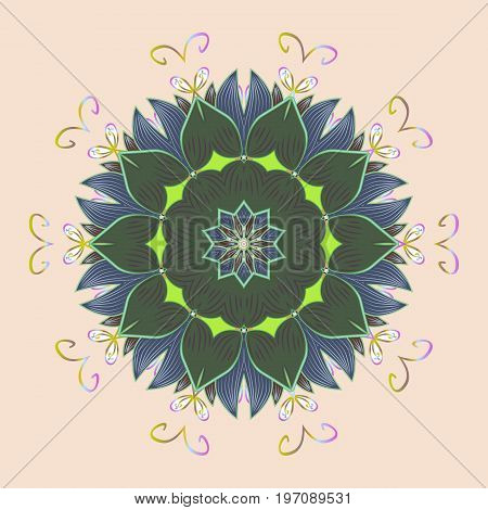Isolated watercolor snowflakes on colorful background. Symbol of winter. Snowflake winter. Vector illustration.