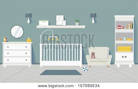 Baby room with furniture. Stylish interior. Flat style vector illustration.