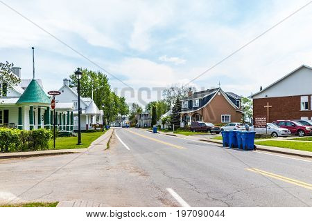 Champlain, Canada - May 29, 2017: Sainte Anne Road In Small Town On Chemin Du Roy With Churches