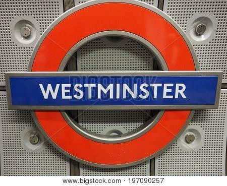 Westminster Tube Station Roundel In London
