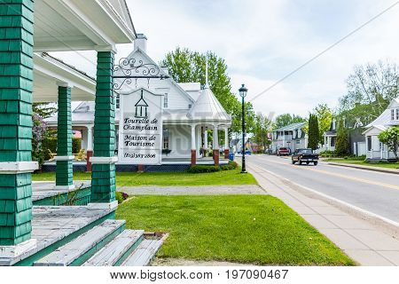 Champlain, Canada - May 29, 2017: Old Building With Tourism Center Sign In Small Town On Chemin Du R