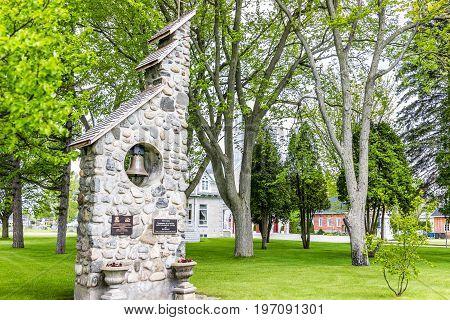 Batiscan Canada - May 29 2017: Parish of Saint Francois Xavier de Batiscan in small town on Chemin du Roy