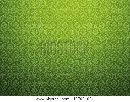 Green damask wallpaper with royal floral patterns