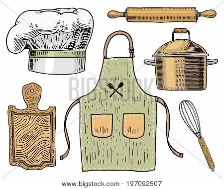 Apron or pinaphora and Hood, rolling pin and saucepan or corolla, wooden board. Chef and kitchen utensils, cooking stuff for menu decoration. engraved hand drawn in old sketch and vintage style