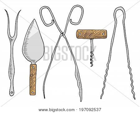 Fork for herring or cake spatula, asparagus tongs, corkscrew and confectionery tongs. Chef and kitchen utensils, cooking stuff for menu decoration. engraved hand drawn in old sketch and vintage style