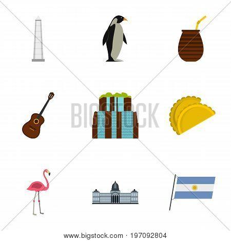 Wild nature of Argentina icons set. Cartoon set of 9 wild nature of Argentina vector icons for web isolated on white background