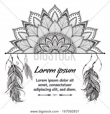 Beautiful card with Feather. Card of mandala in vector, cards or for any other kind of design, birthday and other holiday. Monochrome illustration. kaleidoscope, india sunset
