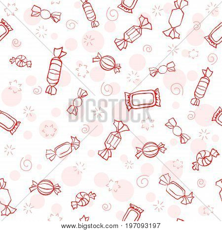 Seamless graphic pattern of red candes. Cartoon fun sweets pattern.