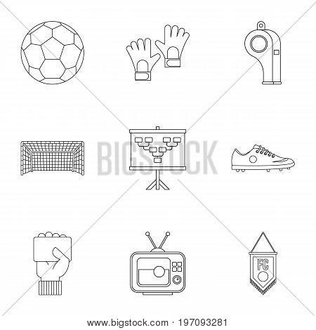 Football equipment icons set. Outline set of 9 football equipment vector icons for web isolated on white background